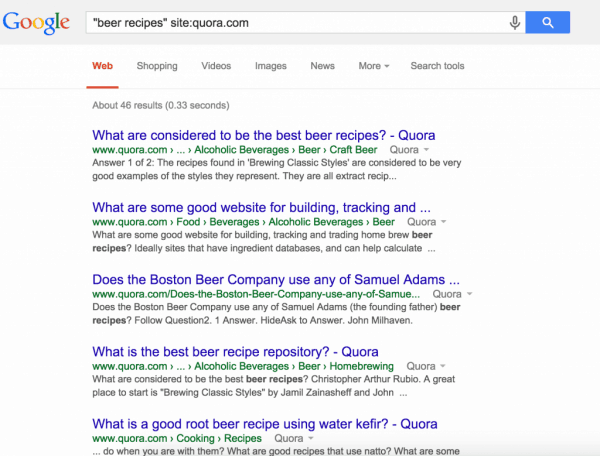google search for beer recipies on quora