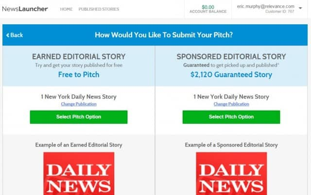 newslauncher pitch options