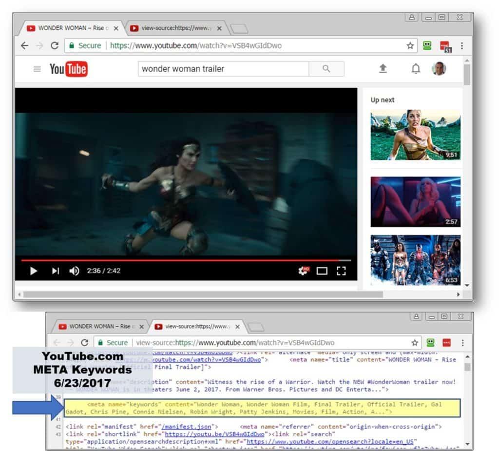 YouTube using META Keywords 2017